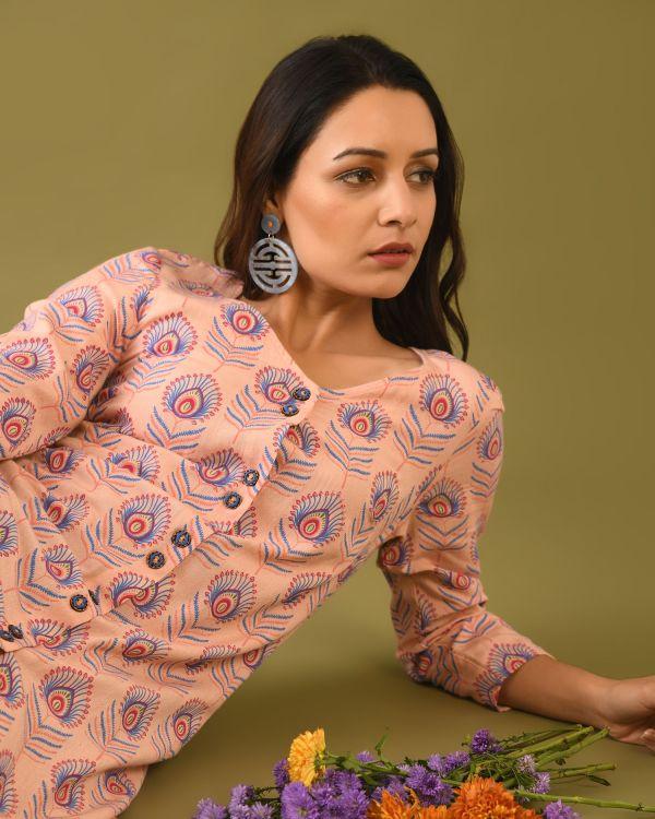 Model posing in Viscose Cotton linen block printed Tunic