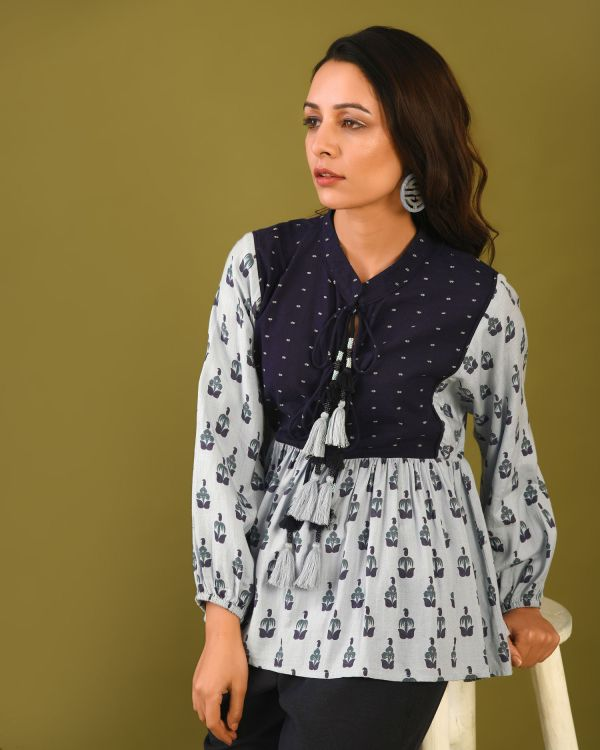 Comfortable Tunic Top with beautiful tassle trim and contrast yoke