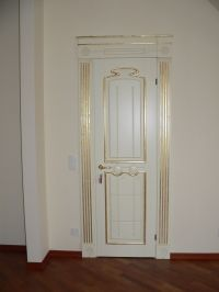 Wooden door painted white and gold classic Baroque style