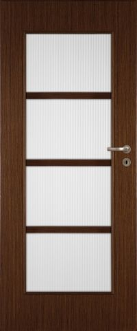 Classic wooden door with frosted glass