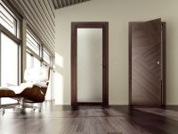 Modern interior design with veneered doors (with glass and ...
