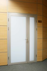 Beautiful aluminium interior door with white frosted glass ...