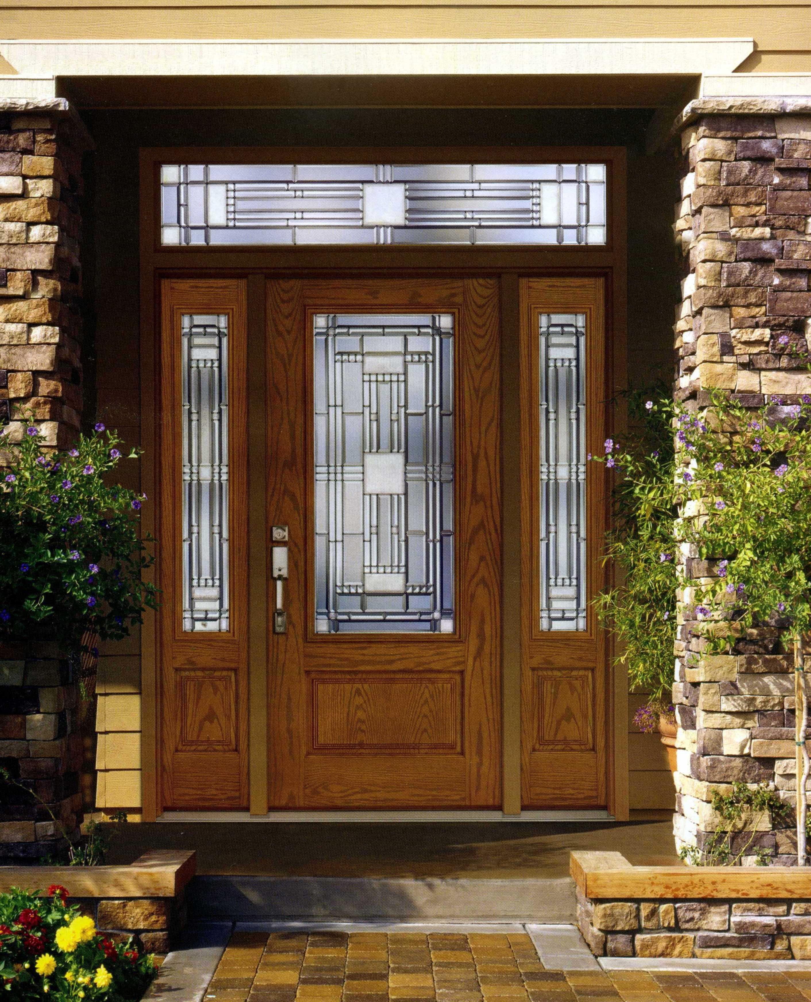 Solid wood front door with glass