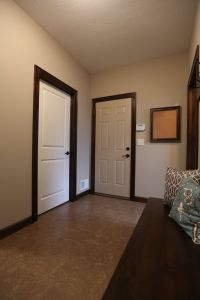 White interior doors with stained wood trim photo