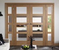 Interior oak french doors with glass