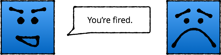 Sad blue box gets fired