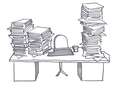 Bureaucracy mountain of papers.