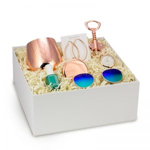 classy bachelorette gift box for bridesmaids rose gold earrings rose gold wine glass luxury womens watch sunglasses