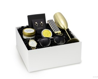 modern gift box bridesmaids champagne mimosa candle bee lotion black gold sunglasses earrings gold watch