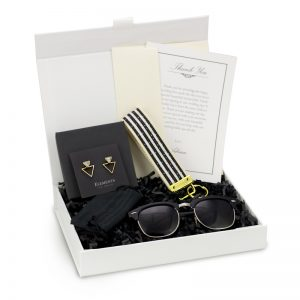 modern gift box for women bride black gold sunglasses earrings keychain personalized gift card