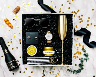 pop fizz clink gift box bridesmaid proposal bachelorette party gifts for her champagne gold black marble