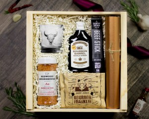Gift Box BBQ Rub Seasoning Buffalo Skull Rocks Glass Grassfed Beef Jerky Organic Bourbon Maple Syrup Grill Mat