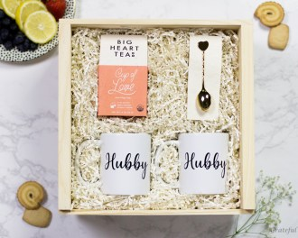 Gift Box LGBT Love Tea Gift Gay Pride Queer Mr and Mr Gold Heart Spoon Queer Mug Hubby