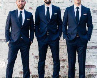 solid navy blue silk tie groomsmen