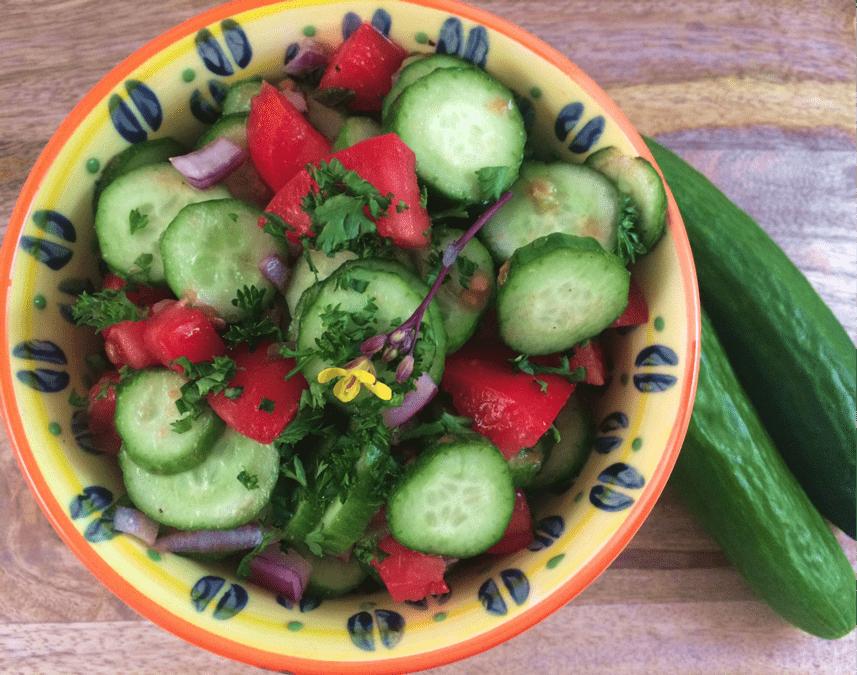 Kachumber Salad via The Plant Powered Blog | Summer Produce Guide | The Grateful Grazer
