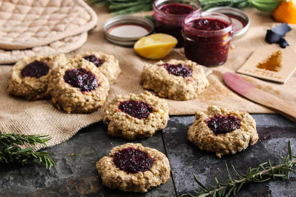 These delicious whole grain thumbprint cookies are healthy enough for breakfast and sweet enough for dessert. Perfect for holiday baking!
