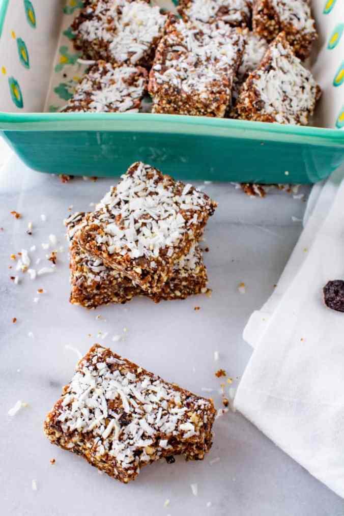 Vegan and naturally sweetened Chocolate Cherry Coconut Bars from The Grateful Grazer.