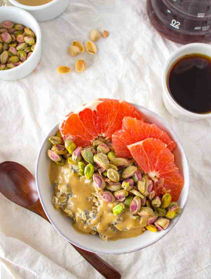 Breakfast Oatmeal Bowl with Grapefruit, Pistachios + Sweet Tahini Drizzle
