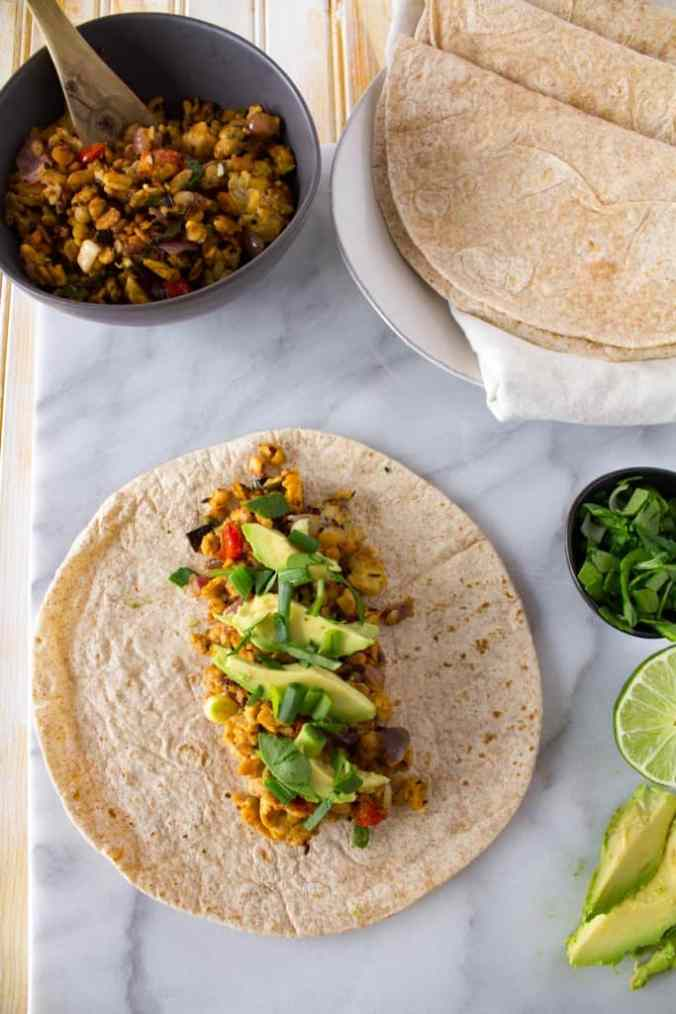 Favorite Vegan Tempeh Taco Filling from Steph at The Grateful Grazer.