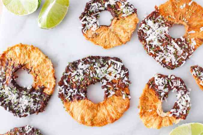 Coconut Lime Dark Chocolate Dipped Pineapple Rings. Nutritious plant-based low-sugar snack or dessert from The Grateful Grazer.