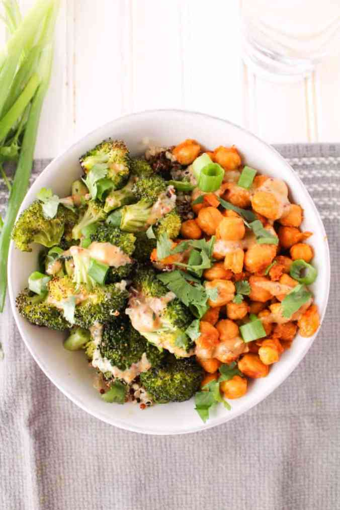 Buffalo Chickpea and Broccoli Bowl with Honey Mustard Tahini Sauce. Vegan and gluten-free. The Grateful Grazer.