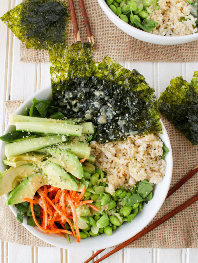 This vegan deconstructed sushi salad is a simple healthy lunch or dinner. Served with flavorful Sesame Ginger Miso Dressing. Quick and easy recipe!