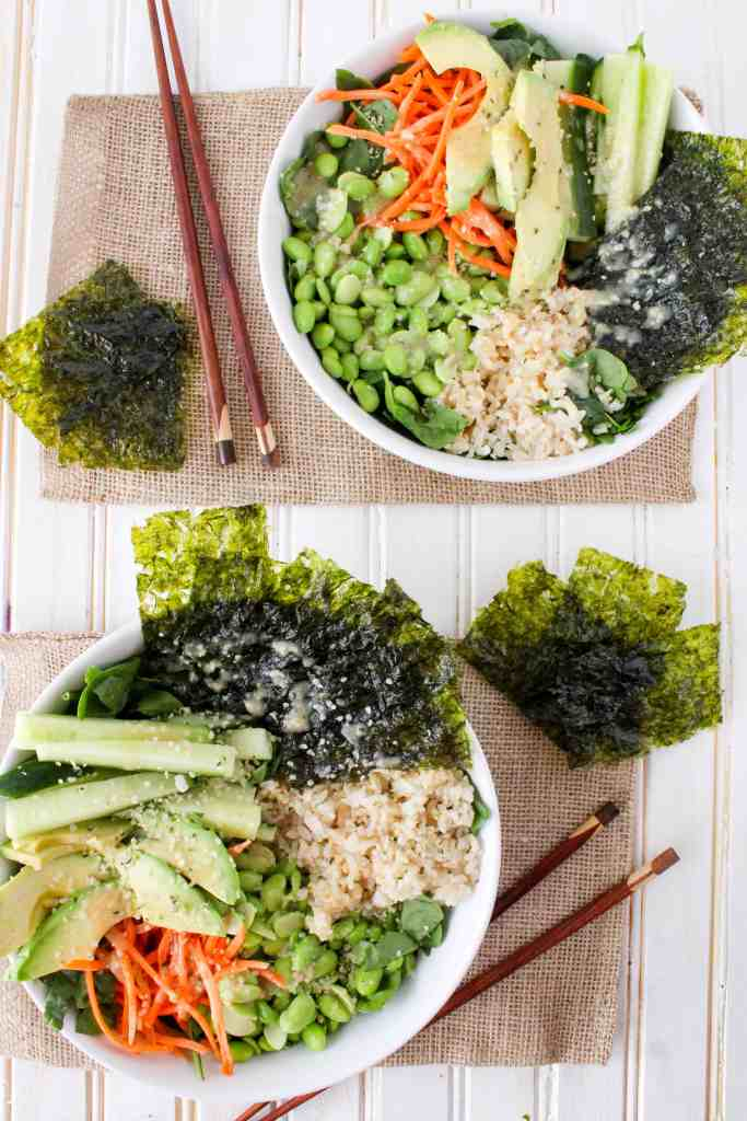 This deconstructed sushi salad is a delicious and simple healthy lunch or dinner. Served with flavorful Sesame Ginger Miso Dressing. Quick and easy recipe!