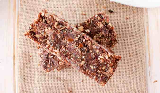 No-Bake Chocolate Nut and Seed Energy Bars (vegan) from The Grateful Grazer.
