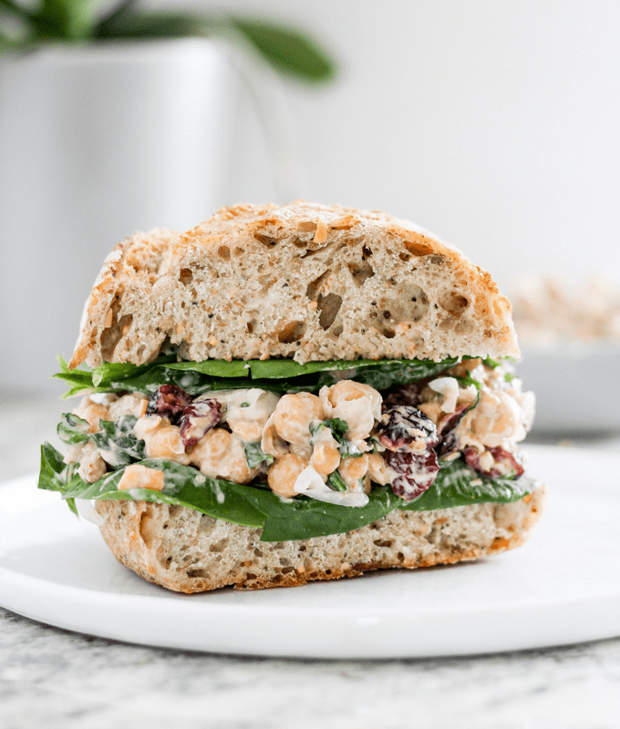 How to make vegan cranberry chickpea salad sandwiches.