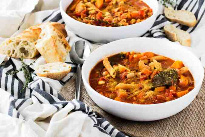 Comforting Butternut Squash Vegan Minestrone Soup is healthy and easy to make. Recipe via www.gratefulgrazer.com