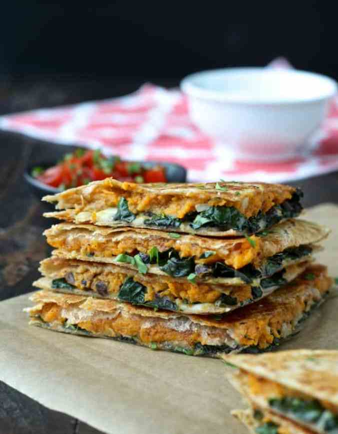 Autumn produce and the best healthy seasonal recipes for fall, including these Sweet Potato and Kale Quesadillas!
