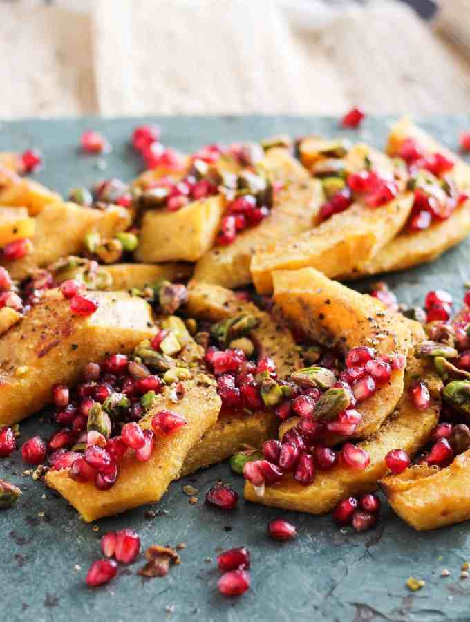 Roasted Acorn Squash with Pomegranate and Pistachios (5 Ingredients!)
