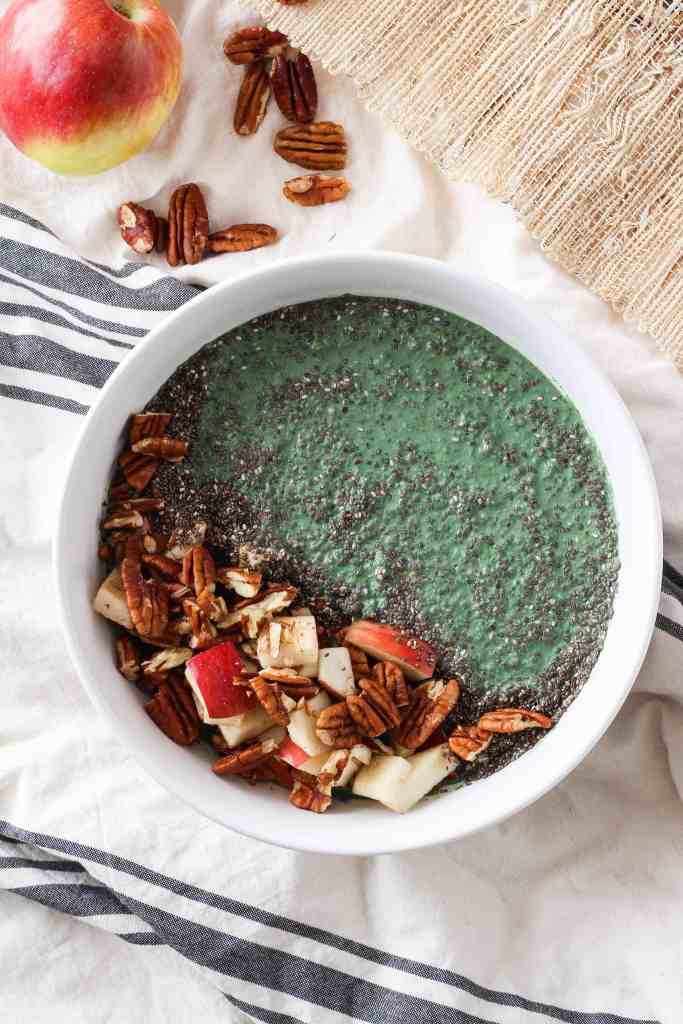 Apple Spirulina Smoothie Bowls are a healthy, plant-based breakfast for fall. Made with spirulina powder for a nutritional boost, and apples and pecans for satisfying fiber.