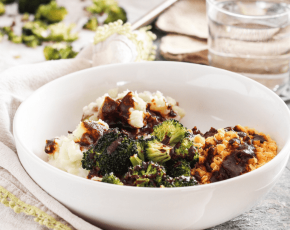 Refuel after a tough workout with nourishing and protein-rich plant-based BBQ Lentil Mashed Potato Bowls with zesty balsamic barbecue sauce.