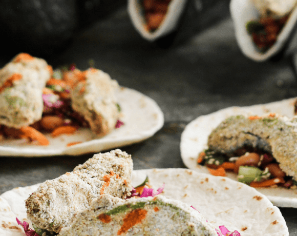 crunchy cornmeal crusted avocado tacos