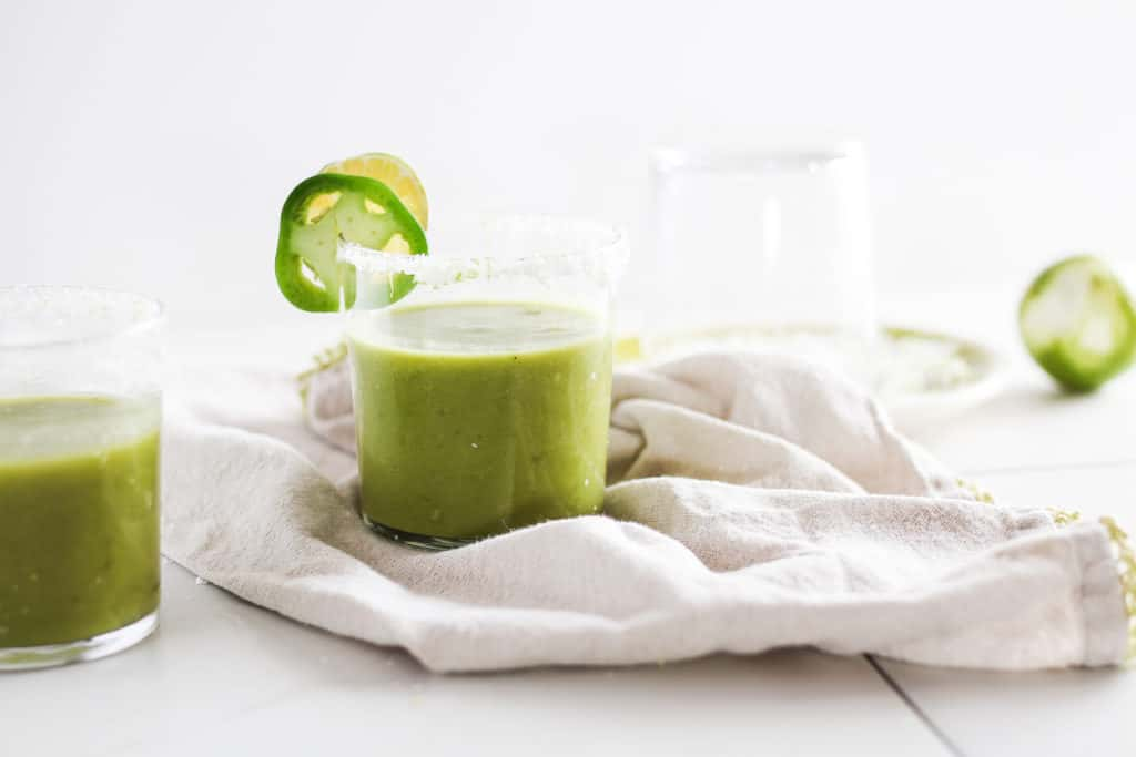 Cool off this summer with blended Mango Matcha Margaritas! Can be made as a cocktail or mocktail. Healthy and delicious green tea recipe!