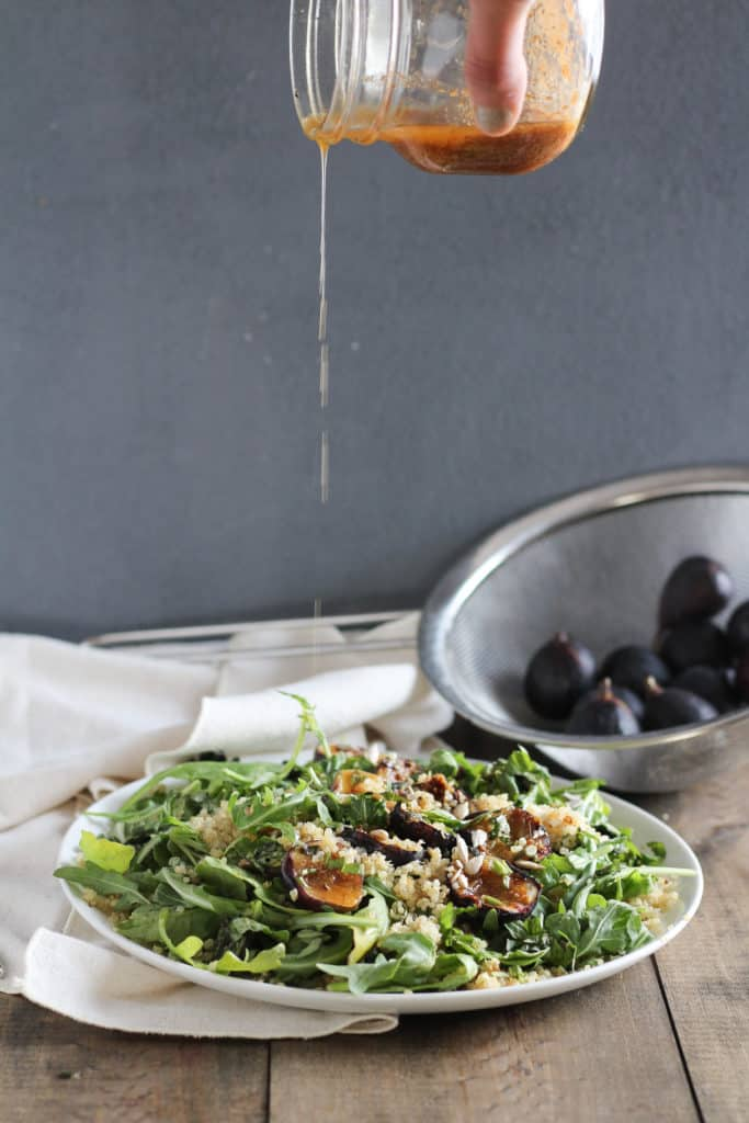 Wondering how to use fresh figs when they're in season? I topped quinoa salad with the grilled fruit, and it quickly became my go-to summer/fall side dish.