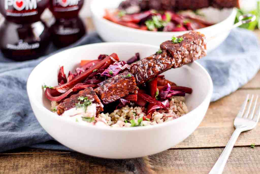 Tempeh Kabob Bowls with Pomegranate Glaze. Wholesome, plant-based meal idea for winter.