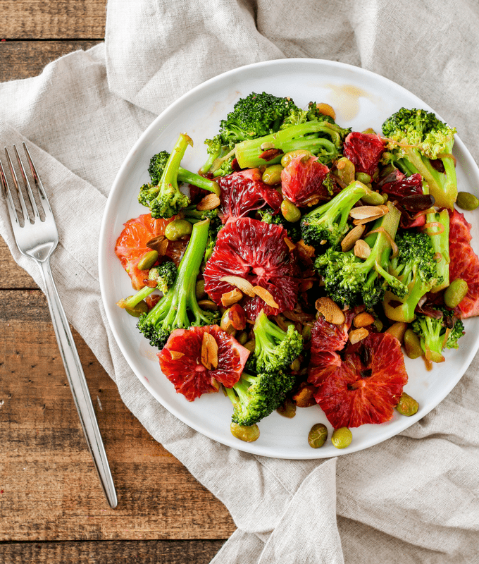 Broccoli stir fry is quick, easy, and oh so delicious with blood oranges! This vegetarian dinner is perfect for winter.