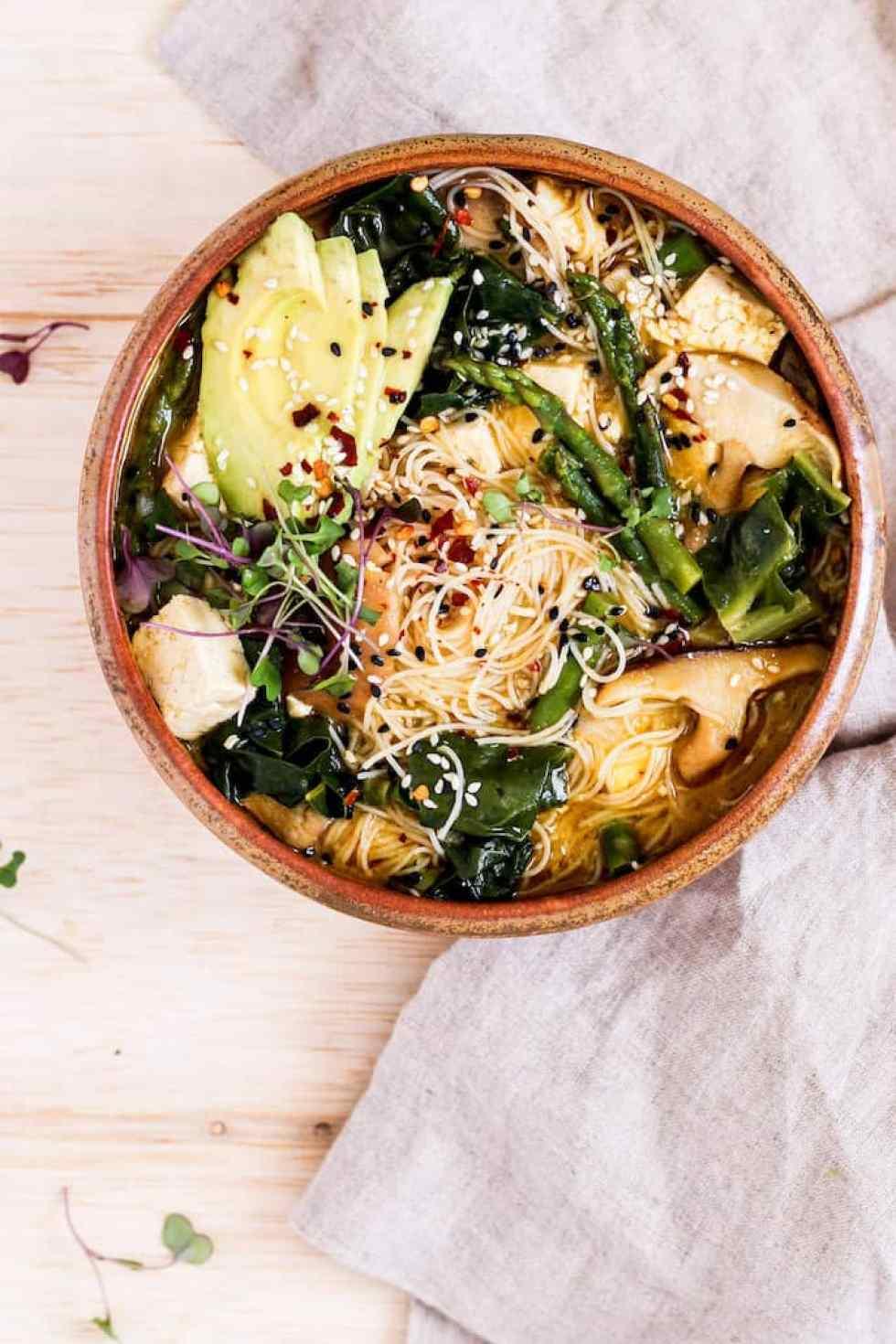 asparagus chard ramen bowls - best grateful grazer recipes