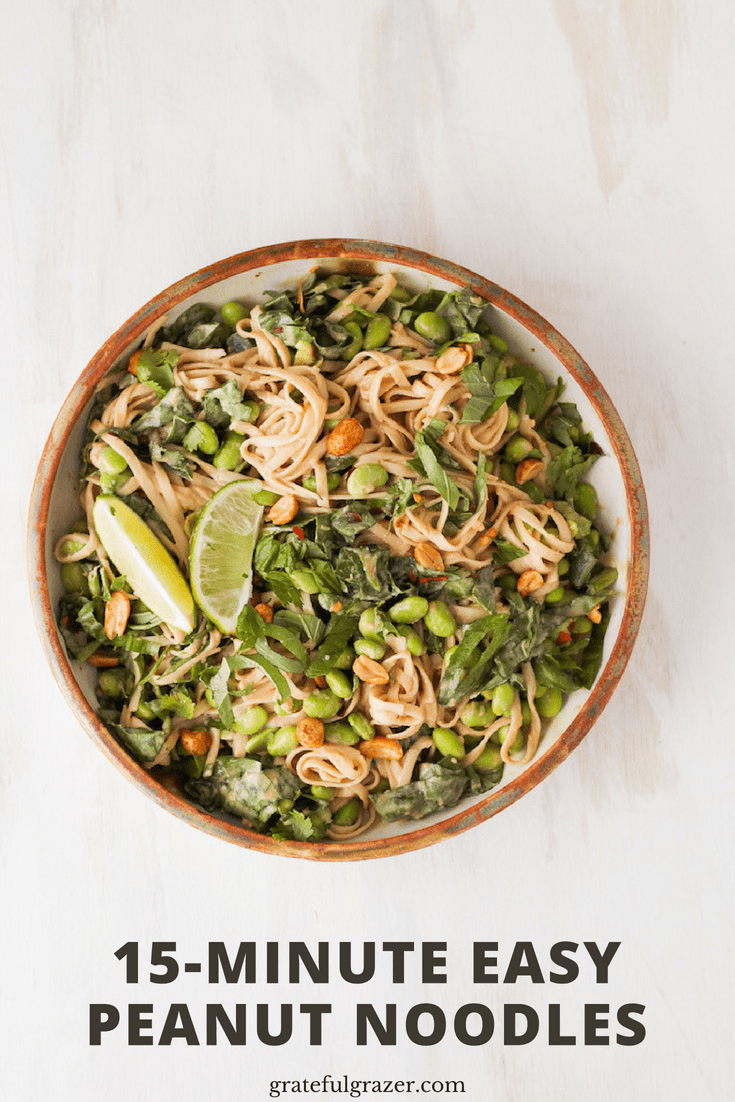 This recipe for easy peanut noodles only takes a few minutes to cook and it tastes delicious. Perfect weeknight dinner to make when you\'re not in the mood to cook!   #gratefulgrazer #peanutnoodles #easyrecipes #healthydinner