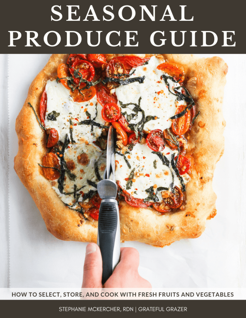 "Seasonal Produce Guide ebook cover image with heirloom tomato pizza and title text that reads, ""Seasonal Produce Guide"""