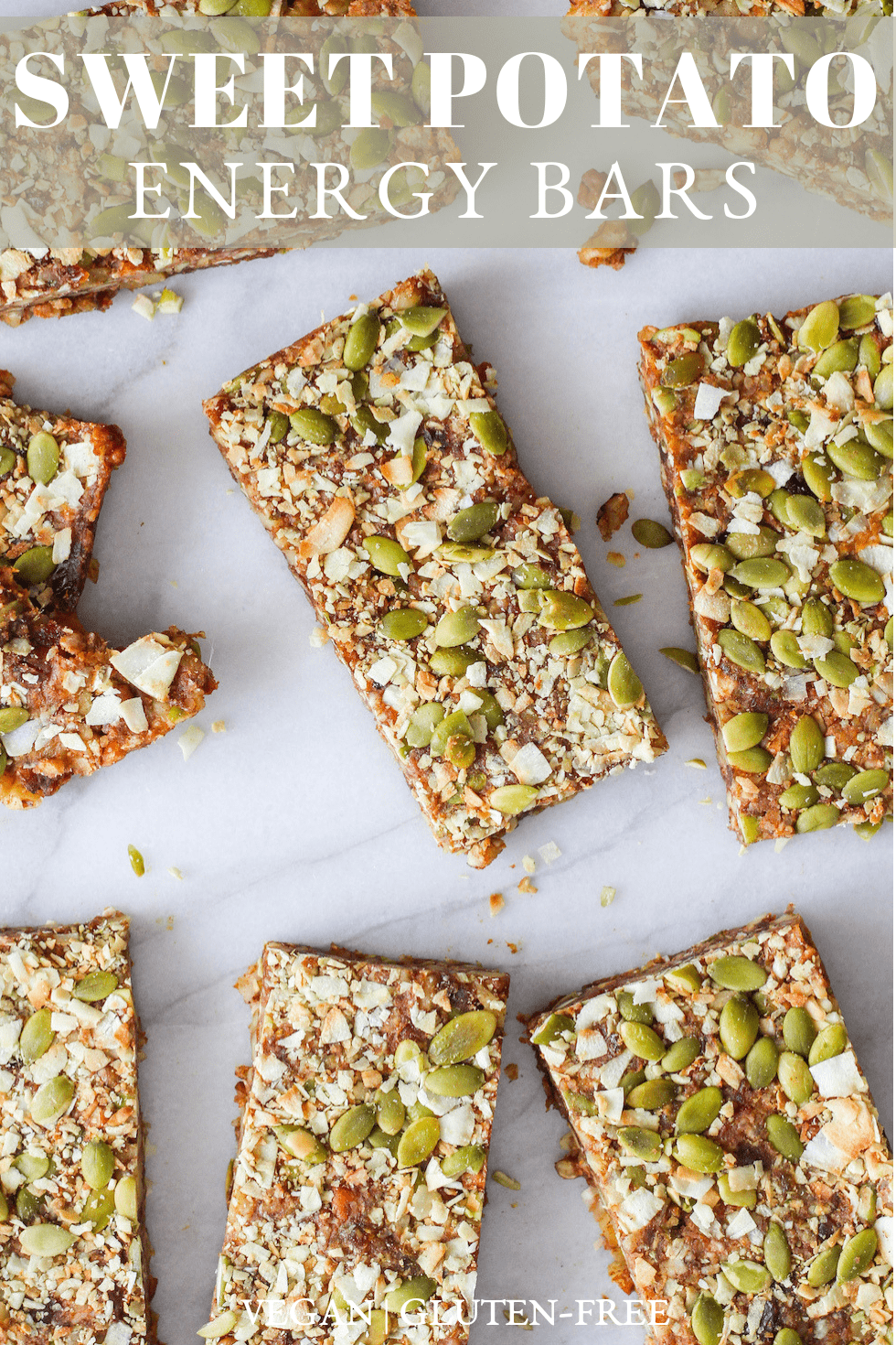 Sweet Potato Energy Bars are a healthy, on-the-go snack made with natural ingredients and cozy, fall spices. This recipe is vegan and gluten-free! #gratefulgrazer #energybars #sweetpotato #plantbased #vegan #glutenfree