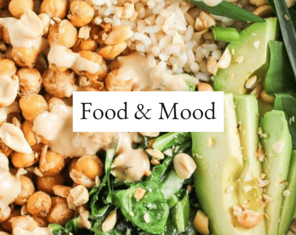 """chickpea bowl with text that reads, """"food and mood."""""""