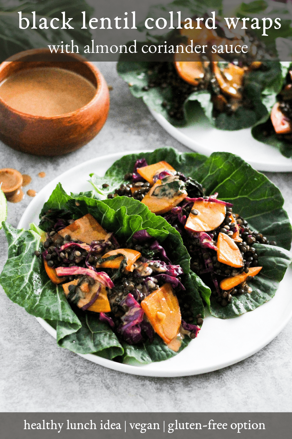 Black Lentil Collard Wraps are a healthy, plant-based lunch idea. This recipe uses a golden beet with the beet greens to help reduce food waste! #GratefulGrazer #plantbased #lowwaste #sustainablefood #healthylunch #ecofriendly