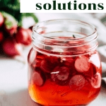 "Pickled radishes in a jar with black and white text that reads, ""food waste solutions."""