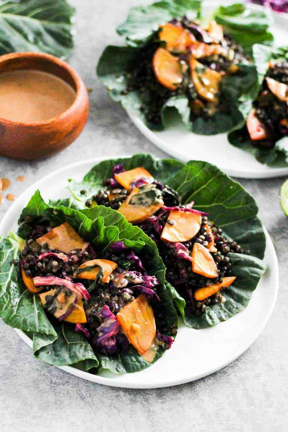 Black lentil collard wraps with golden beets and black lentils. Vegetarian dinner recipes.