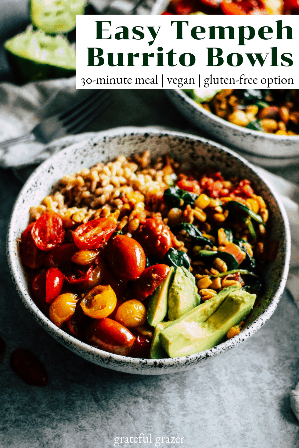 "Burrito bowl in white dish with text that reads, ""Easy Tempeh Burrito Bowls: 30-minute meal, vegan, gluten-free option."""