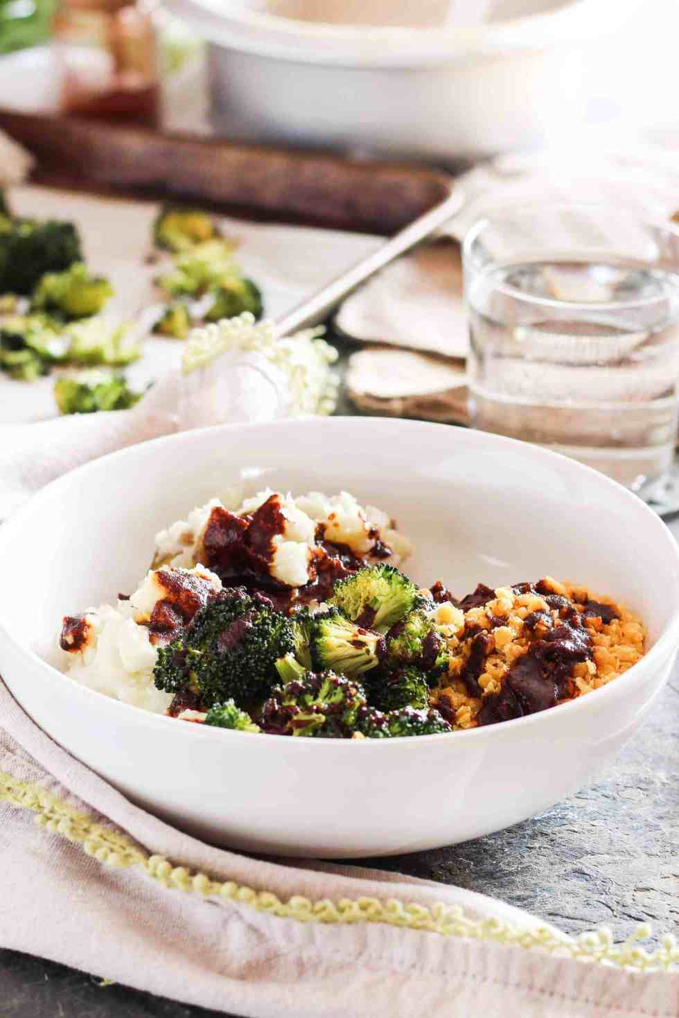 Mashed Potato Thanksgiving Leftovers become BBQ lentil bowls in white bowl with broccoli.