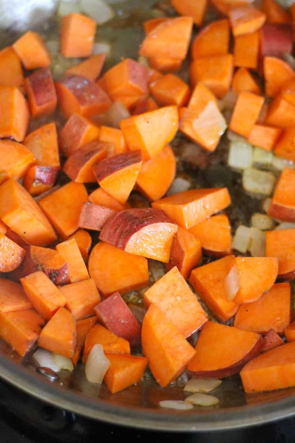 Sweet potatoes in frypan.